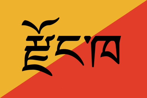 Dzongkha over bhutan flag colours