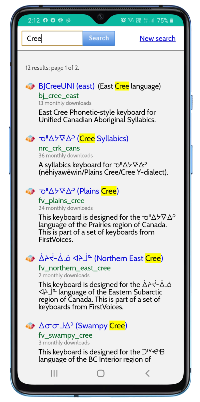 Choosing a Cree keyboard on Android