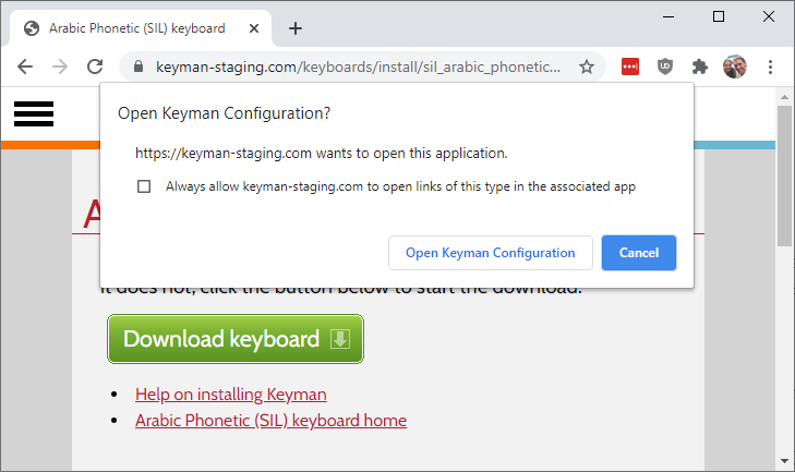Installing a keyboard from your web browser