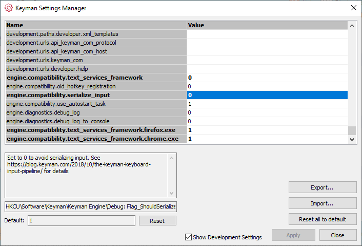 Keyman Settings Manager